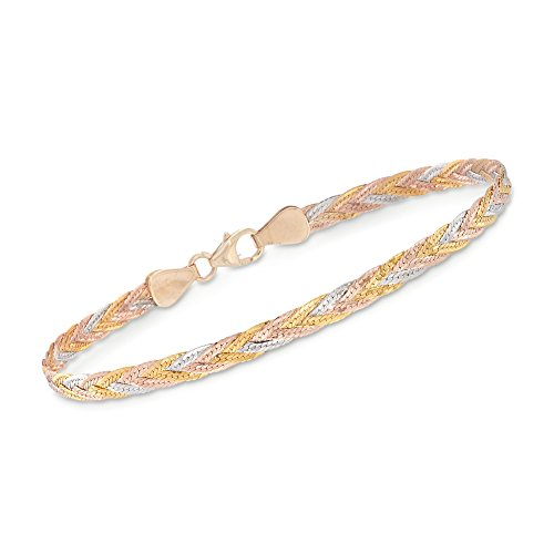 Ross-Simons Italian 14kt Tri-Colored Gold Braided Herringbone Bracelet