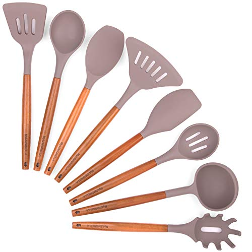 MyLEMONELLA Silicone Kitchen Utensil Set, Acacia Wood Handles, No-Fuss Cooking, Heat Resistant, Food Safe Quality Cooking Utensils, Durable Long Lasting, Attractive 8 PC Spoon, Server, Spatula Set (White Wood Utensils Kitchen And)