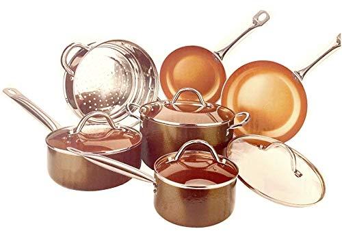 Amazon.com: Set de sartenes de cobre antiadherentes de lujo ...