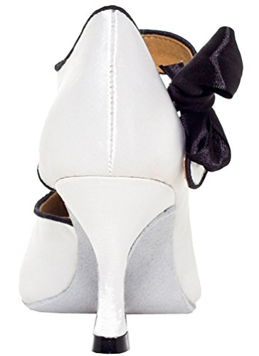 Satin Heel Flared Womens White Ballroom L004 Peep Custom Tango toe Professional 4 Latin dance Abby 3 YFYC shoes Swp6H1qnU