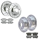 Prime Choice Auto Parts BRKPKG038934 [Front & Rear set] 4 Silver Drilled And Slotted Performance Brake Rotors