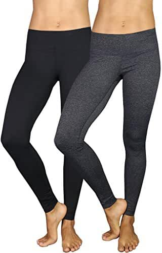 90 Degree by Reflex Power Flex Yoga Pants - Black and Heather Charcoal 2 Pack XL