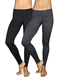 Power Flex Yoga Pants - Black and Heather Charcoal 2 Pack Small