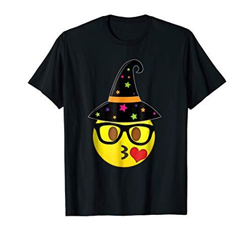 Funny Halloween Emoji Witch Nerd Kissy Face T-Shirt ()