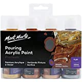 Mont Marte Premium Acrylic Pouring Paint Set, Metallic, 4 x 4oz (120ml) Bottles, Pre-Mixed Acrylic Paint, Suitable for a…