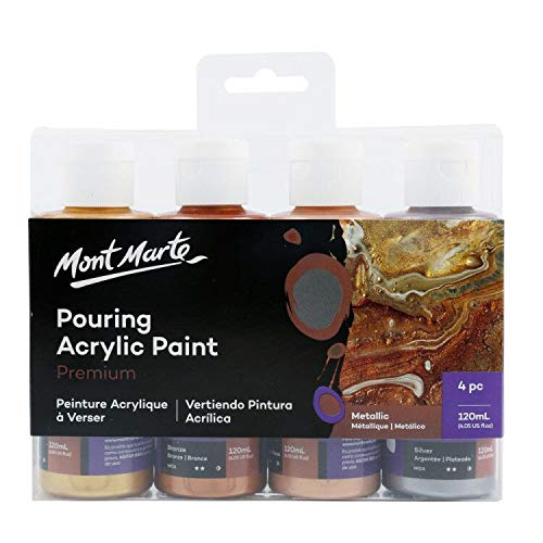 Mont Marte Premium Acrylic Pouring Paint Set, Metallic, 4 x 4oz (120ml) Bottles, Pre-Mixed Acrylic Paint, Suitable for a Variety of Surfaces Including Stretched Canvas, Wood, MDF and Air Drying Clay.