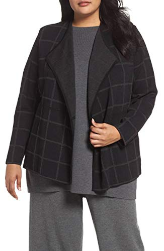 Eileen Fisher Fine Windowpane Crepe Open Angle Front Charcoal Cardigan (Plus Size) 2X
