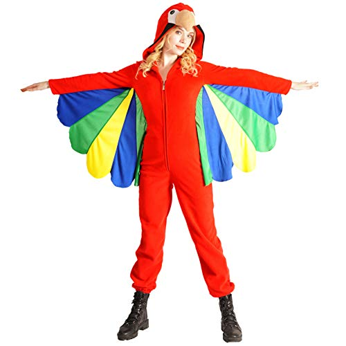 Women's Parrot Jumpsuit Ladies Red Costume -