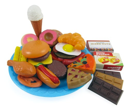 Fast Food & Dessert Mini Play Food Cooking Set for Kids - 30 pieces (Burgers, Donuts, Ice Cream, & (Cooking Food Plastic)