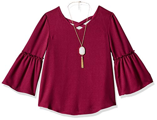 Amy Byer Girls' Big 7-16 Woven Bell Sleeve Top, Wine, S