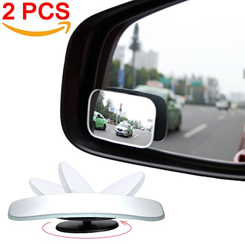 (AmFor HD Glass Convex Lens Frameless Adjustable Blind Spot Mirror for All Universal Vehicles Car Stick-on Design (2 PCS) (Rectangle), 2 Pack)