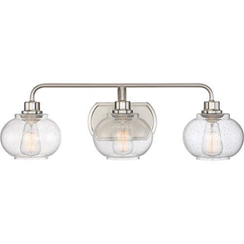 Quoizel TRG8603BN Trilogy Glass Lantern Vanity Wall Lighting, 3-Light, 300 Watts, Brushed Nickel 8 H x 27 W