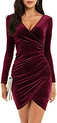 GUBERRY Womens Wrap V Neck Long Sleeve Velvet Bodycon Ruched Cocktail Party Dress