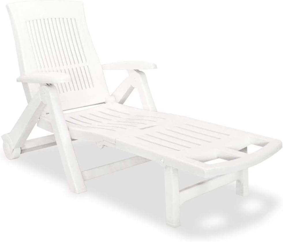 MWPO Tumbona de plástico Tumbona Plegable con reposapiés Ajustable Silla de Playa para Dormir Muebles duraderos para Piscina de jardín Blanco 72 x 195 x 101 cm