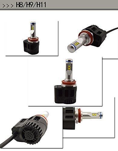 Shsyue 2pcs 10400LM Headlamps Model H8 H9 H11 4-LED Car Vehicle Headlights Conversion Set 110W 6000K by Shsyue® (Image #6)