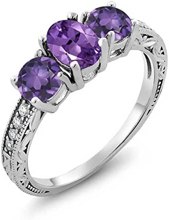 1.77 Ct Genuine Oval Purple Amethyst 925 Sterling Silver Women's 3-Stone Ring (Available in size 5, 6, 7, 8, 9)