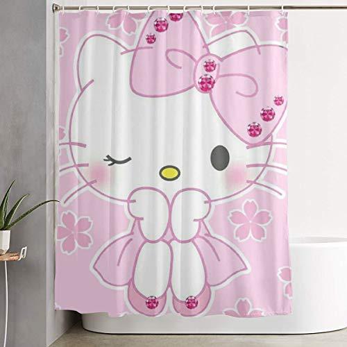 LYULIAN Princess Hello Kitty with Hook Stylish Shower Curtain Printing Waterproof Bathroom Curtain 60 X 72 Inches