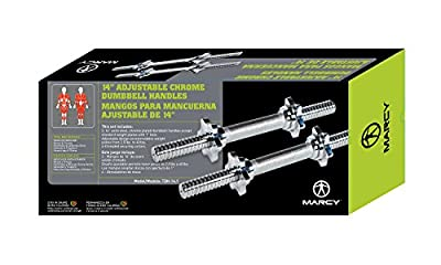 """Marcy 14"""" Adjustable Chrome Threaded Dumbbell Handles for Standard Weight Plates with 1"""" Diameter Center TDH-14.1"""