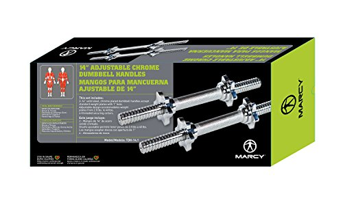 "Marcy 14"" Adjustable Chrome Threaded Dumbbell Handles for Standard Plates with 1"" Diameter Center"
