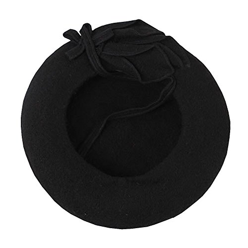 Lisianthus Lisainthus Women's Flower Classic French Wool Beret Hat Black