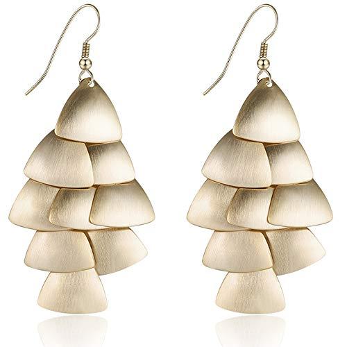 XZP Fashion Chandelier Drop Earrings for Women 10K Gold Plated Tiered Dangle Earrings Womens Gift (Light Chandelier Dark Spice)
