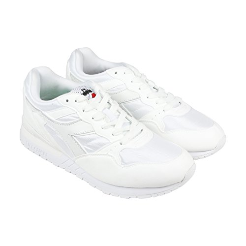 Diadora Mens Boots (Diadora Intrepid NYL Mens White Suede Athletic Lace Up Running Shoes 10.5)