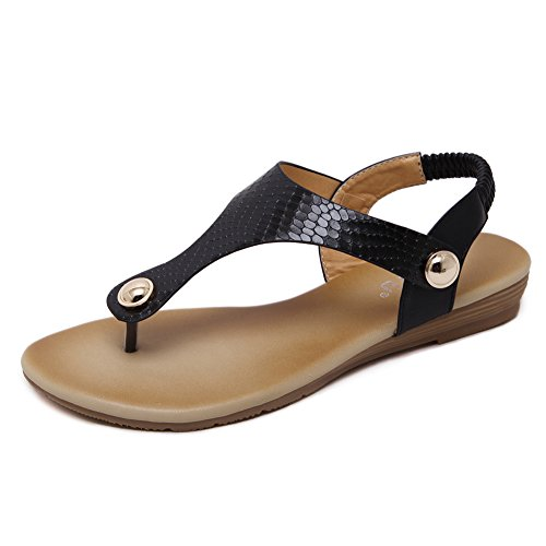 Pie Clip 12 Mujer De Elastic Sandalias Bohemias Strap 929 KJJDE QXXC Beach del Dedo Sandalias Black T Clip q0xY7C