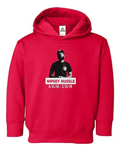 RIP Portrait Nipsey Hussle Hip Hop Rap Tribute Crenshaw Little Kids Girls Boys Toddler Hooded Sweatshirt (Red, 4T)