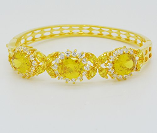 22K Yellow Gold Plated GP Cubic Zirconia Cz AAA Syn Yellow Sapphire Flower Thai Jewelry Bracelet Cuff Bangle 5 Mm 2.25 Inches ()
