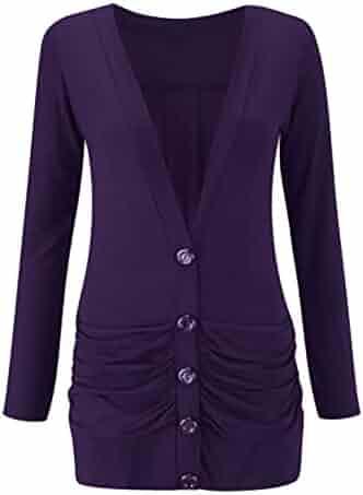915e7674b2 Rimi Hanger Womens Ruched Button Boyfriend Cardigan Ladies Long Sleeve Pockets  Sweater Top S/M
