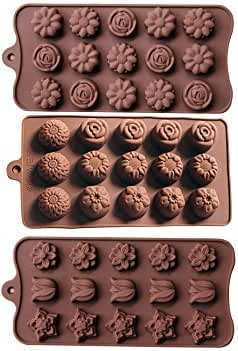 Minchsrin Non Stick 3pc Candy Molds, Chocolate Molds, Silicone Molds, Soap Molds, Silicone Baking Molds-3pc Value Set-sunflower Rose Tulip Flower Chrysanthemum