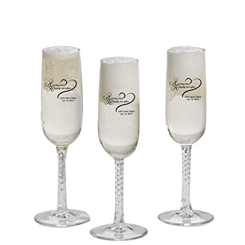 Personalized Printed Stemmed Champagne Flutes - (Set of 24) - Personalized Champagne Glasses - Monogrammed Champagne Flutes - -