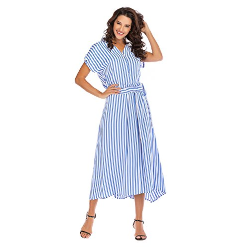 Women's Summer Classic Black-White Stripes Batwing Sleeves Maxi Casual Plus Size Button up Shirt Dress (White-Blue Stripes, XXL)