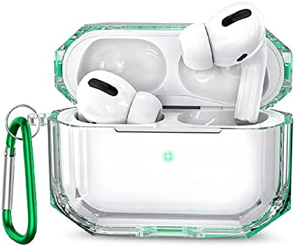 MioHHR Case for AirPods Pro, 360° Full Protective Dustproof TPU Clear Cute AirPods Case Cover for Apple AirPod 3 2020 Cases for Girls with Keychain Strap Multi Color for Women and Men (Green)