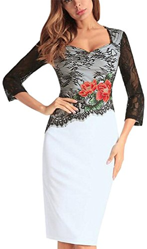 Hip White Sleeved Stitching Lace Dress Embroidered Long ainr Womens Vintage Package RqPZRf8wx