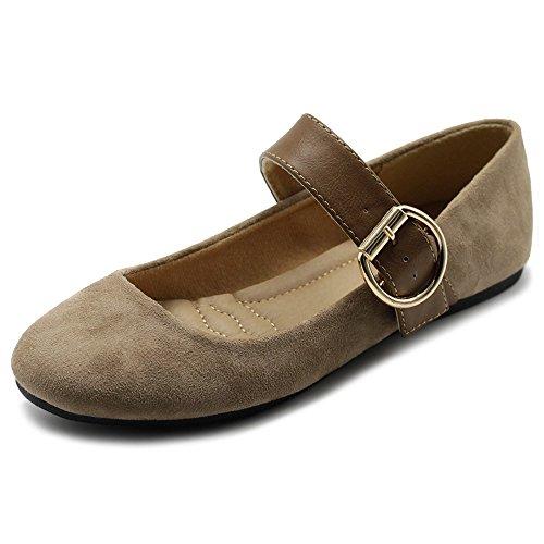 Ollio Women's Shoes Faux Suede Mary Jane Belt Slip On Comfort Light Ballet Flats ZY00F57 (8.5 B(M) US, Beige) ()