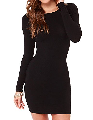 Haola Women's Sexy Casual Long Sleeve Short Dress Mini Dress L Black