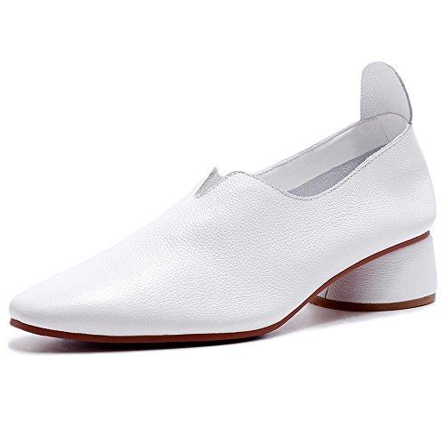Negen Zeven Lederen Dames Puntige Neus Lage Dikke Hak Beha Comfortabele Handgemaakte Schoenen Loafers Wit