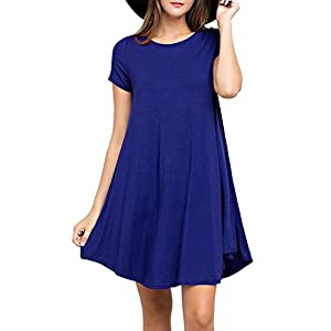 VIISHOW Women's Summer Basic Short Sleeve Casual Loose T-Shirt Dresses