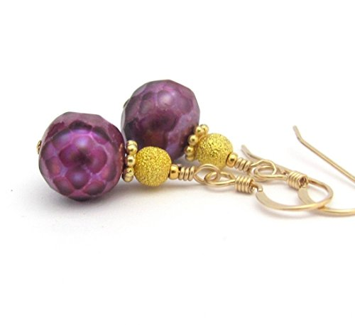 Purple Freshwater Cultured Pearl Earrings Gold Fill Wires Stardust Beads Wedding Bridal Hawaii Beads (10 Mm Stardust Beads)