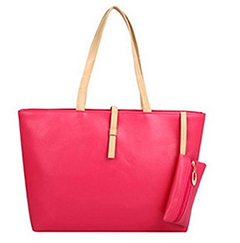Ninimour- Classic Fashion Faux Leather Large Tote Bags with Coin Wallet (Hot Pink)