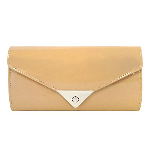 JNB Women's Patent Leather Candy Clutch (Nude) by JNB