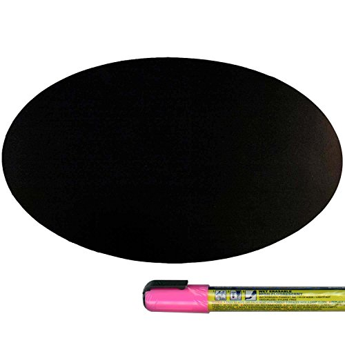 Cohas Magnetic Backed Board includes Liquid Chalk Marker, 6 by 9 Inch Oval, Blackboard with Pink Marker