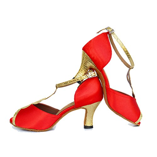 Dancing Scarpe Ballo Inferiore Scarpe Womens Alti Tacchi Social Ballo Da Da Latino Molle Wymname Rosso xO4RqwfF