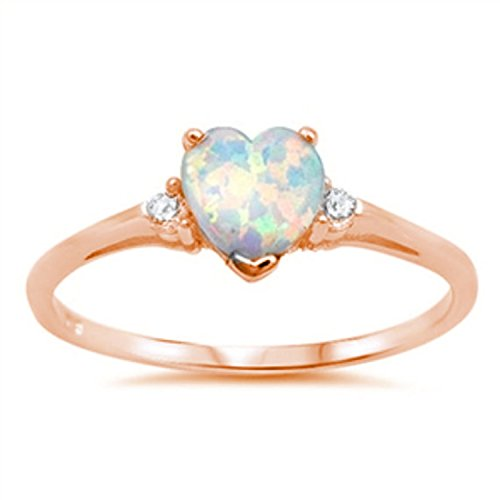 925 Sterling Silver Promise Ring Rose Tone Rhodium PL Heart shape Lab Created White Opal round Clear CZ accent - Gold Opal Heart Ring