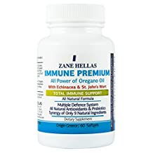 Immune Premium by Zane Hellas. 60 Softgels. For a Strong Healthy Immune System. With Oil of Oregano Oil , Echinacea and St. John's Wort. 100% Natural Perfect Wellness Formula.