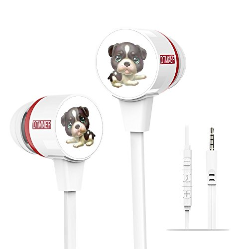 DTMNEP Kids Earphone Children Earbuds in Ear Headphones with Dog Design for Tablets & Phones-Perfect Childrens Earbuds for School, Home and Travel