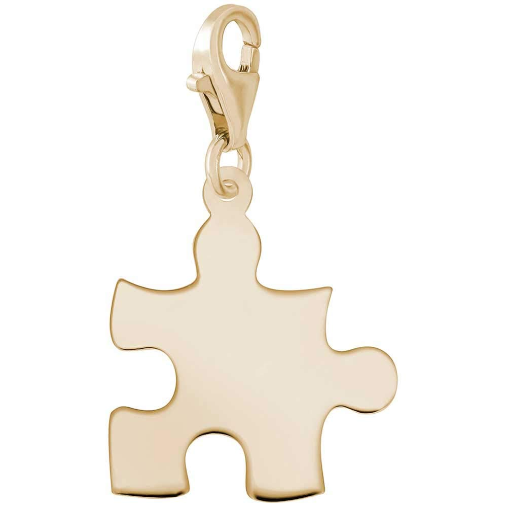 Rembrandt Charms Puzzle Piece Charm with Lobster Clasp, 14k Yellow Gold
