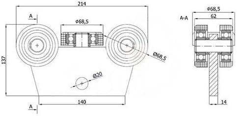 zabi rollo carro con 5 ruedas metal con plano hierro Perfil 80 x 80 x 5 puertas correderas (: Amazon.es: Bricolaje y herramientas