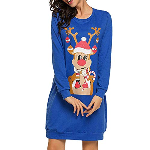 Women Christmas Long Sleeve Dress Ladies Mini Dress